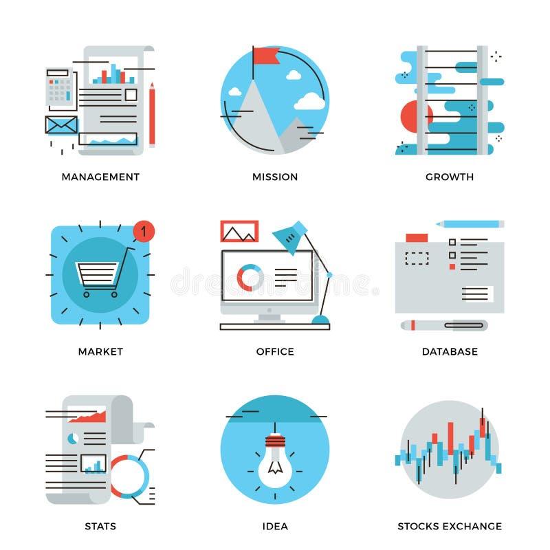Linha moderna ícones da gestão empresarial ajustados ilustração stock