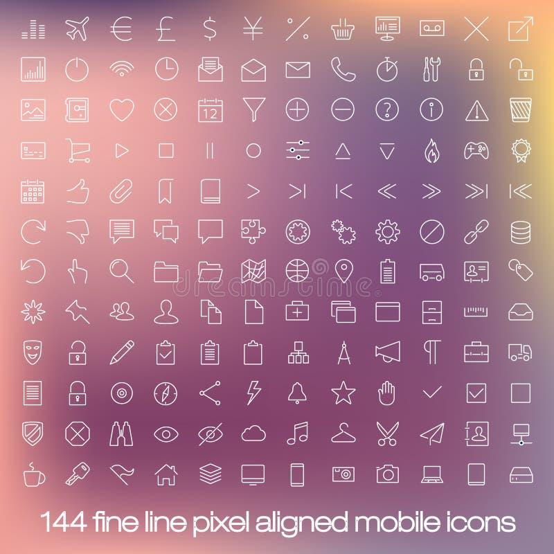 Linha moderna ícones da interface de utilizador, pixéis perfeitos ilustração royalty free