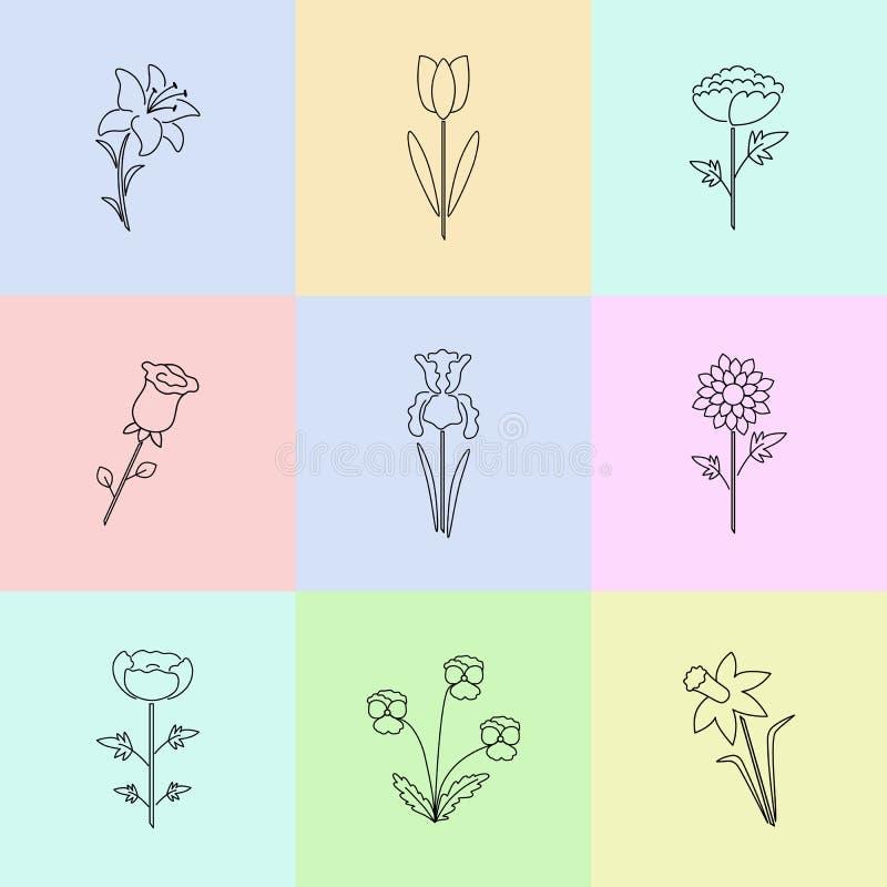A linha moderna ícones do vetor com tipo diferente do jardim floresce ilustração do vetor