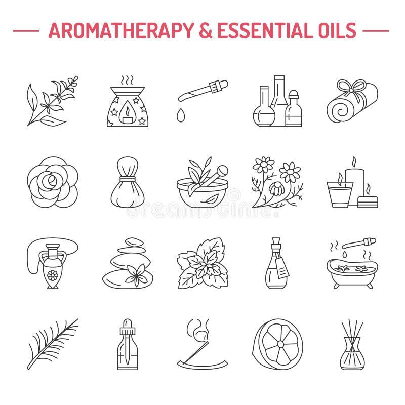 Linha moderna ícones do vetor de aromaterapia e de óleos essenciais ilustração stock