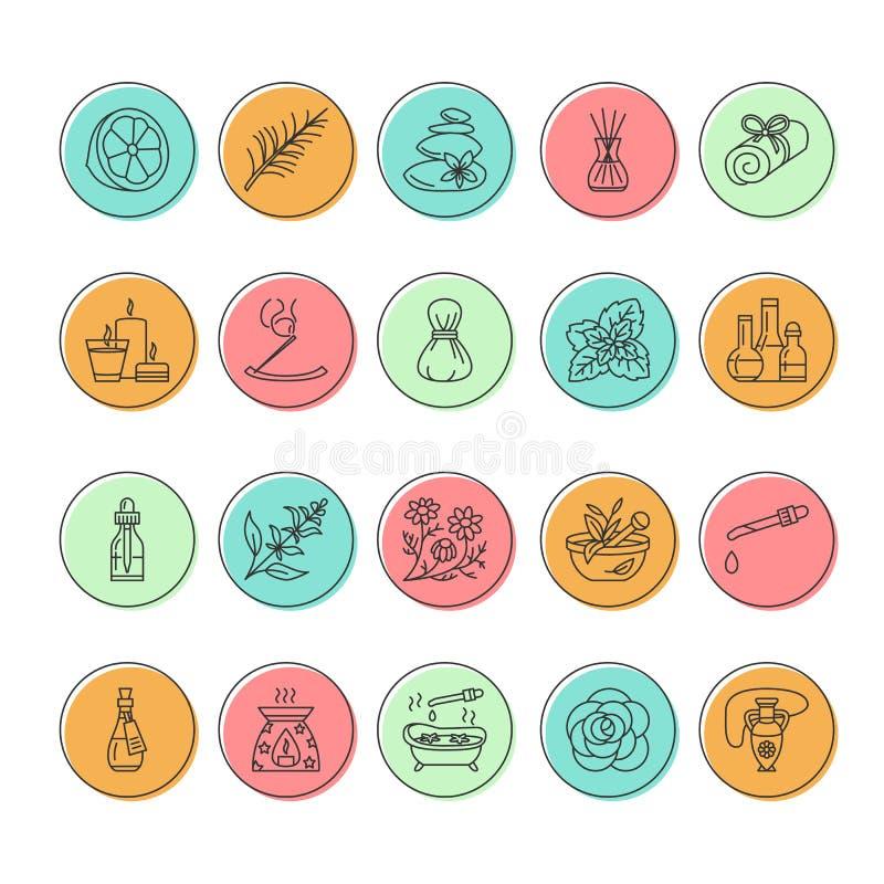 Linha moderna ícones do vetor de aromaterapia e de óleos essenciais Elemento - difusor da aromaterapia, queimador de óleo, velas  ilustração do vetor