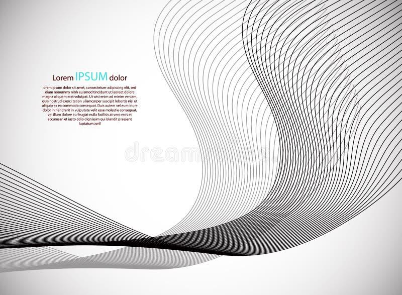 Linha moderna abstrata, onda projetada na área de Gray Background With Sample Text Ilustração do vetor ilustração do vetor