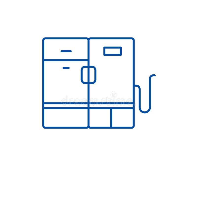Linha moderna conceito do refrigerador do ícone Símbolo liso do vetor do refrigerador moderno, sinal, ilustração do esboço ilustração royalty free