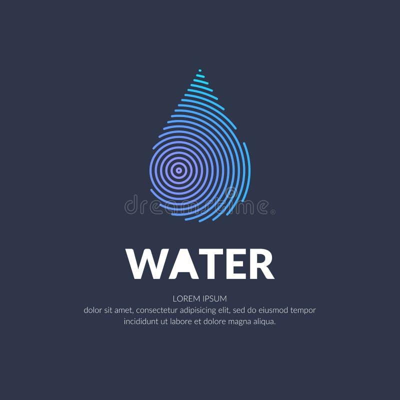Linha moderna logotipo do vetor da gota da água ilustração stock