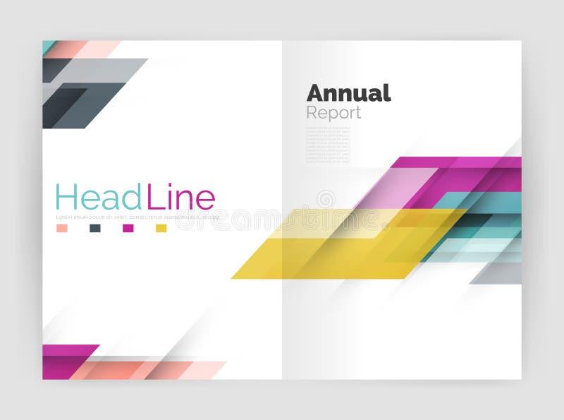 Linha moderna projeto, conceito do movimento Moldes do folheto do informe anual do negócio ilustração royalty free