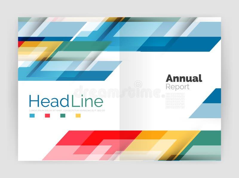 Linha moderna projeto, conceito do movimento Moldes do folheto do informe anual do negócio ilustração stock