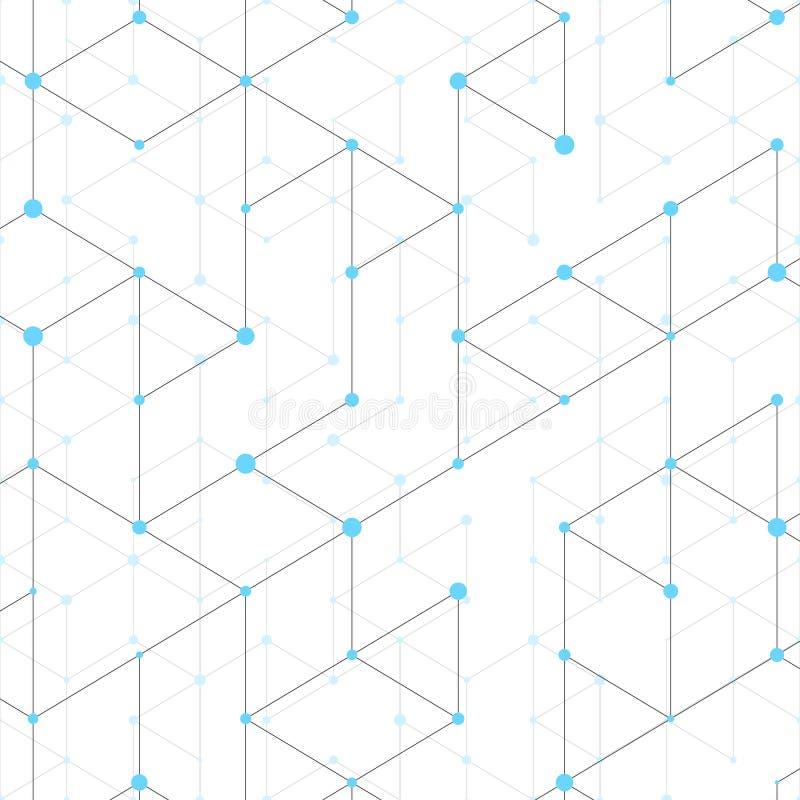 Linha moderna teste padrão da arte com linhas de conexão no fundo branco Estrutura da conexão Gráfico geométrico abstrato ilustração royalty free