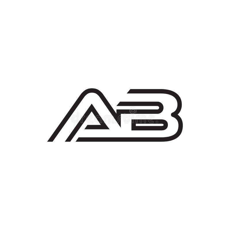 Linha moderno original do logotipo do AB da letra inicial ilustração do vetor