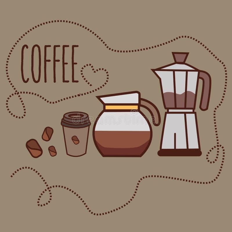 Linha moedor do café do frasco do jarro do feijão do copo da arte do ícone ilustração stock