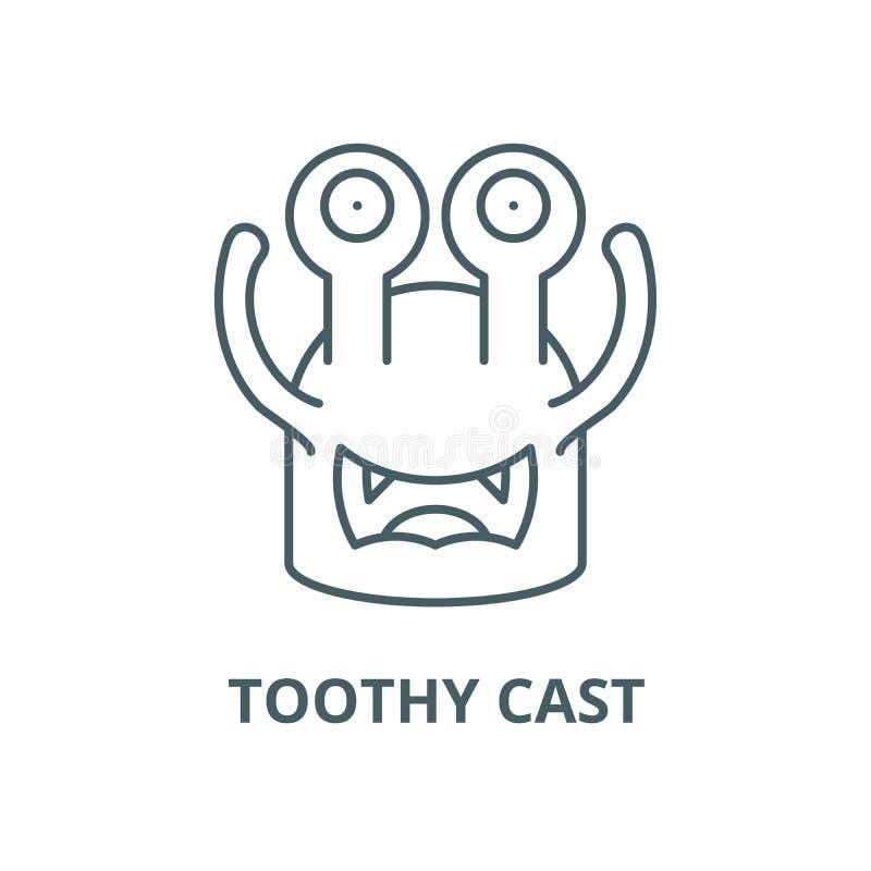 Linha moldada Toothy ícone do vetor, conceito linear, sinal do esboço, símbolo ilustração stock