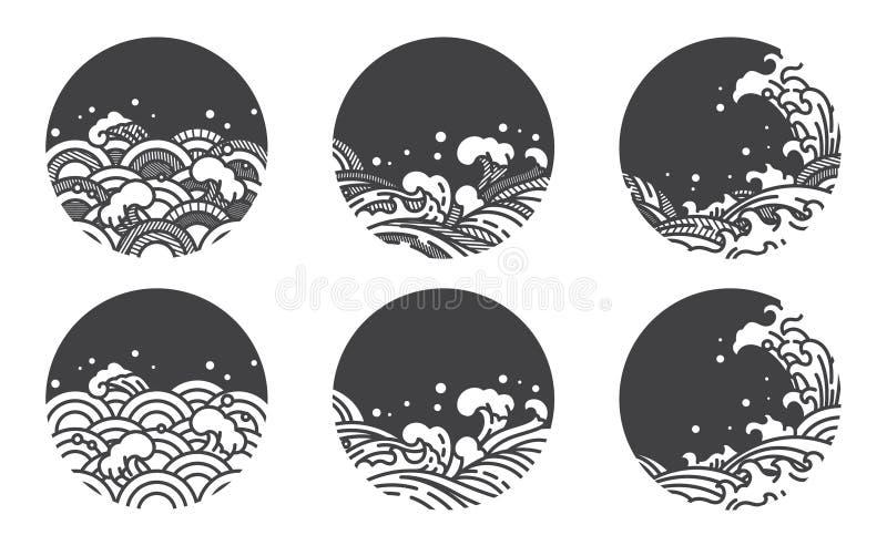 Linha molde da onda de ?gua do logotipo japon?s thai fotos de stock