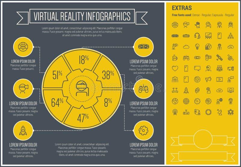 Linha molde da realidade virtual de Infographic do projeto ilustração royalty free