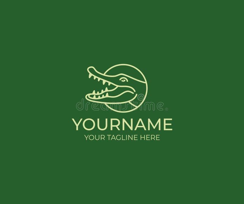 Linha molde do crocodilo do logotipo Projeto do vetor do jacaré ilustração do vetor