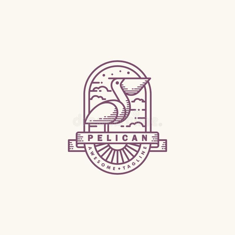 Linha molde do pelicano do projeto do vetor da ilustra??o da arte mono ilustração royalty free