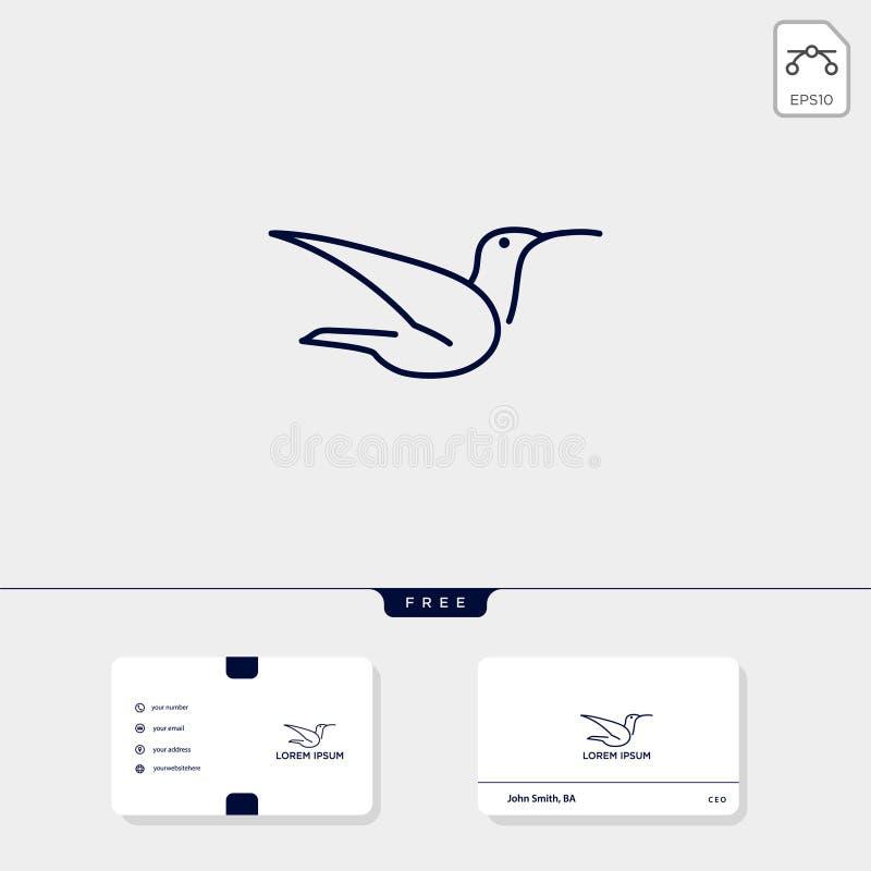 a linha molde e cartão do pássaro de voo do logotipo inclui, ilustração livre do vetor, inspiração do logotipo ilustração royalty free
