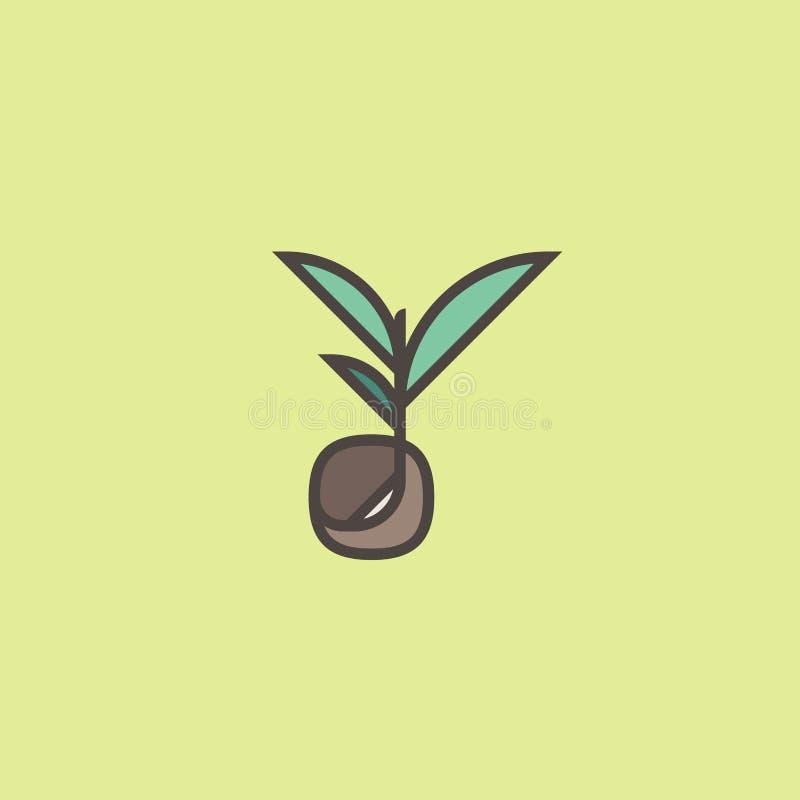 Linha molde ou ícone da marca do logotipo do estilo com semente emergente ilustração royalty free