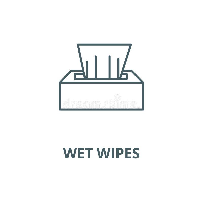 Linha molhada ícone do vetor das limpezas, conceito linear, sinal do esboço, símbolo ilustração stock