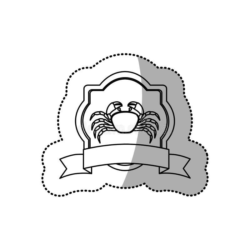linha monocromática contorno da etiqueta com caranguejo e fita do emblema ilustração do vetor