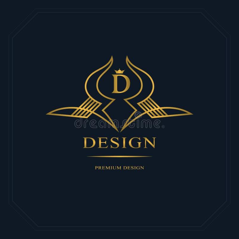 Linha monograma do ouro dos gráficos Projeto do logotipo da arte elegante Letra D Molde gracioso Sinal do negócio, identidade par ilustração stock