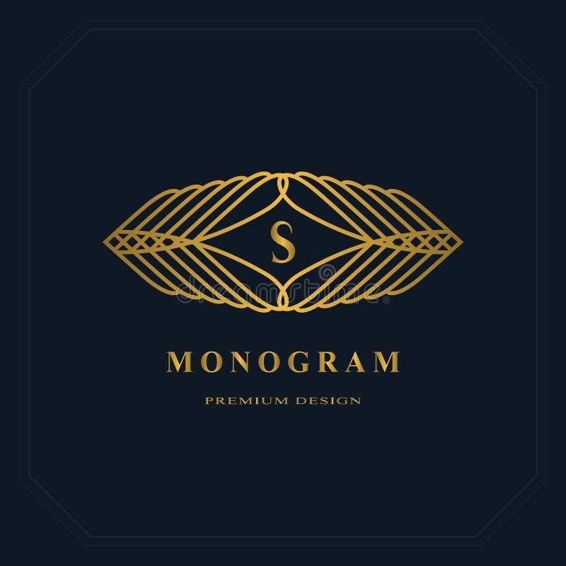Linha monograma do ouro dos gráficos Projeto do logotipo da arte elegante Letra S Molde gracioso Sinal do negócio, identidade par ilustração royalty free