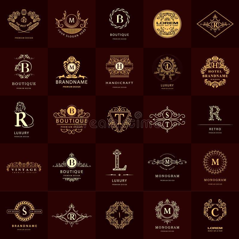 Linha monograma dos gráficos Moldes do projeto dos logotipos do vintage ajustados Emblema da letra do sinal do negócio ilustração royalty free