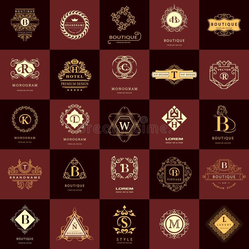 Linha monograma dos gráficos Moldes do projeto dos logotipos do vintage ajustados Emblema da letra do sinal do negócio Coleção do ilustração stock