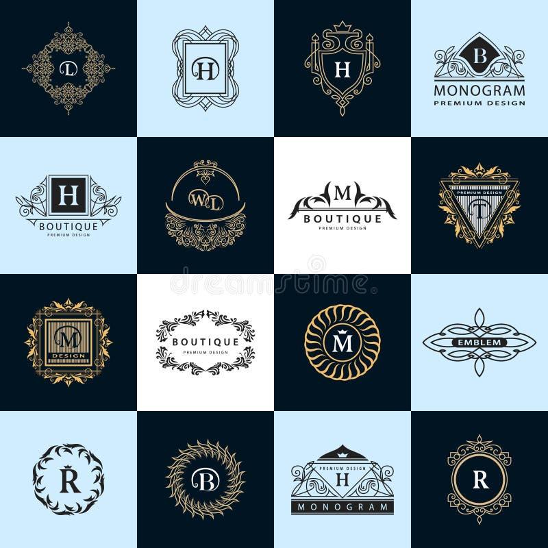 Linha monograma dos gráficos Moldes do projeto dos logotipos do vintage ajustados Emblema da letra do sinal do negócio Coleção do ilustração do vetor