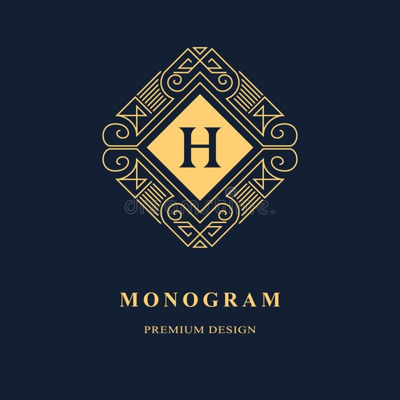 Linha monograma dos gráficos Projeto do logotipo da arte elegante emblema Molde gracioso ilustração stock