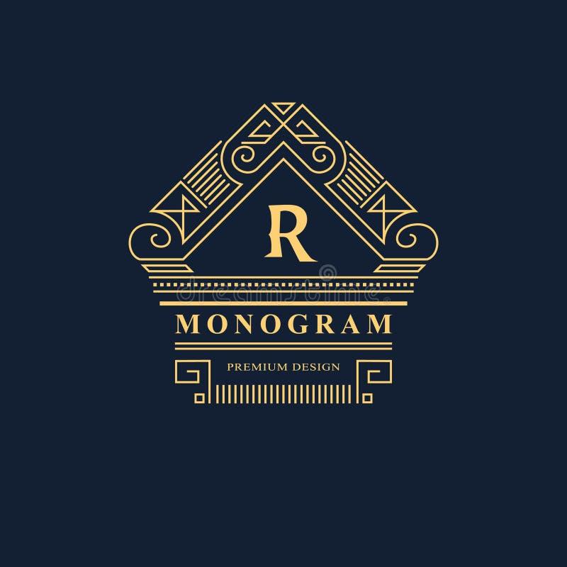 Linha monograma dos gráficos Projeto do logotipo da arte elegante emblema Molde gracioso ilustração royalty free