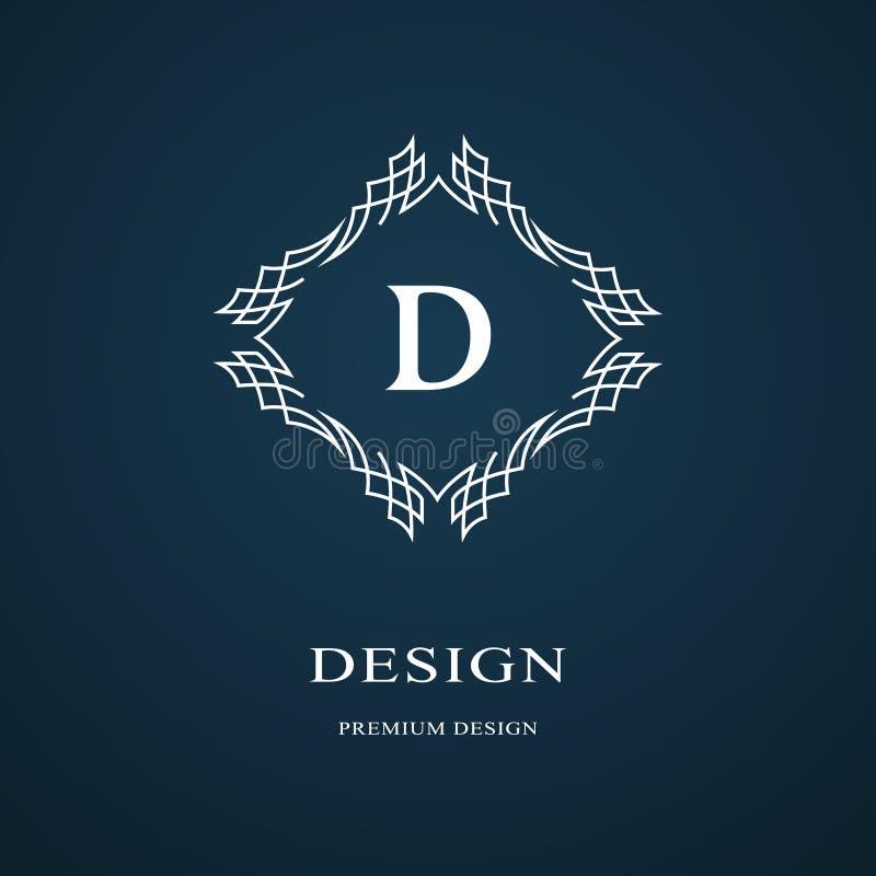 Linha monograma dos gráficos Projeto do logotipo da arte elegante Letra D Molde gracioso Sinal do negócio, identidade para o rest ilustração royalty free
