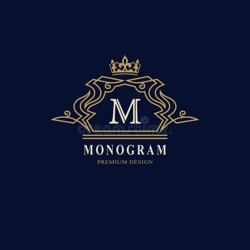 Linha monograma dos gráficos Projeto do logotipo da arte elegante Letra M Molde gracioso Sinal do negócio, identidade para o rest ilustração stock