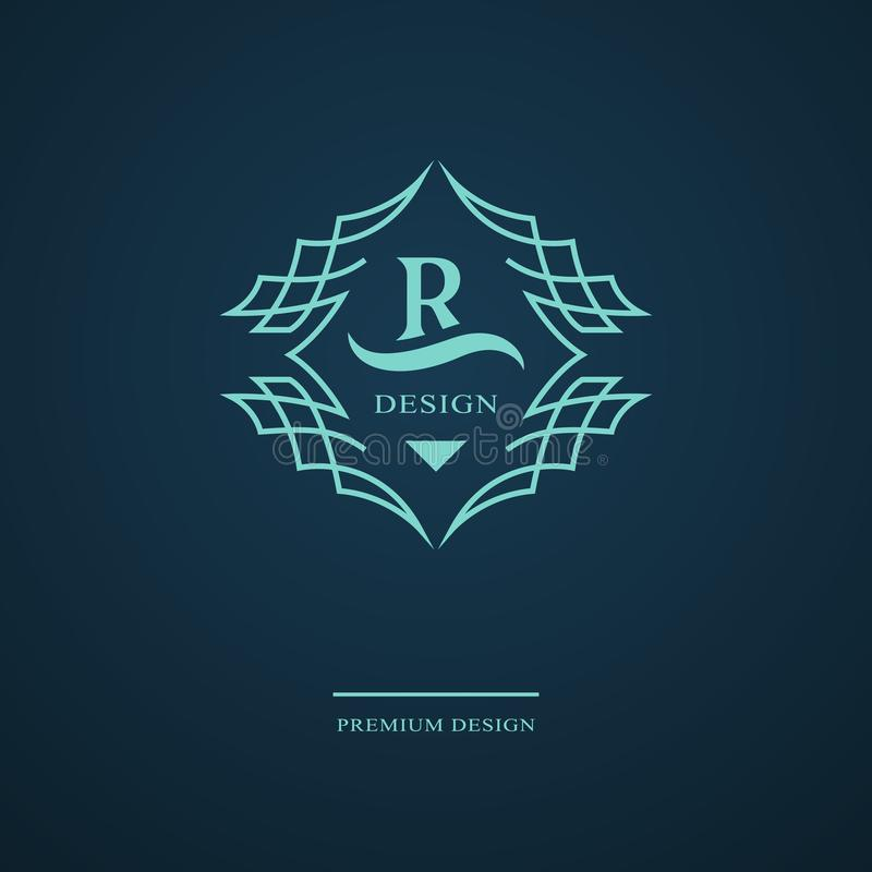 Linha monograma dos gráficos Projeto do logotipo da arte elegante Letra R Molde gracioso Sinal do negócio, identidade para o rest ilustração royalty free