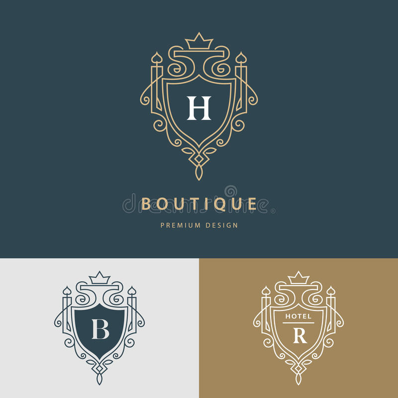 Linha monograma dos gráficos Projeto real do logotipo da arte Letra H, B, R Molde gracioso Sinal do negócio, identidade para o re ilustração do vetor