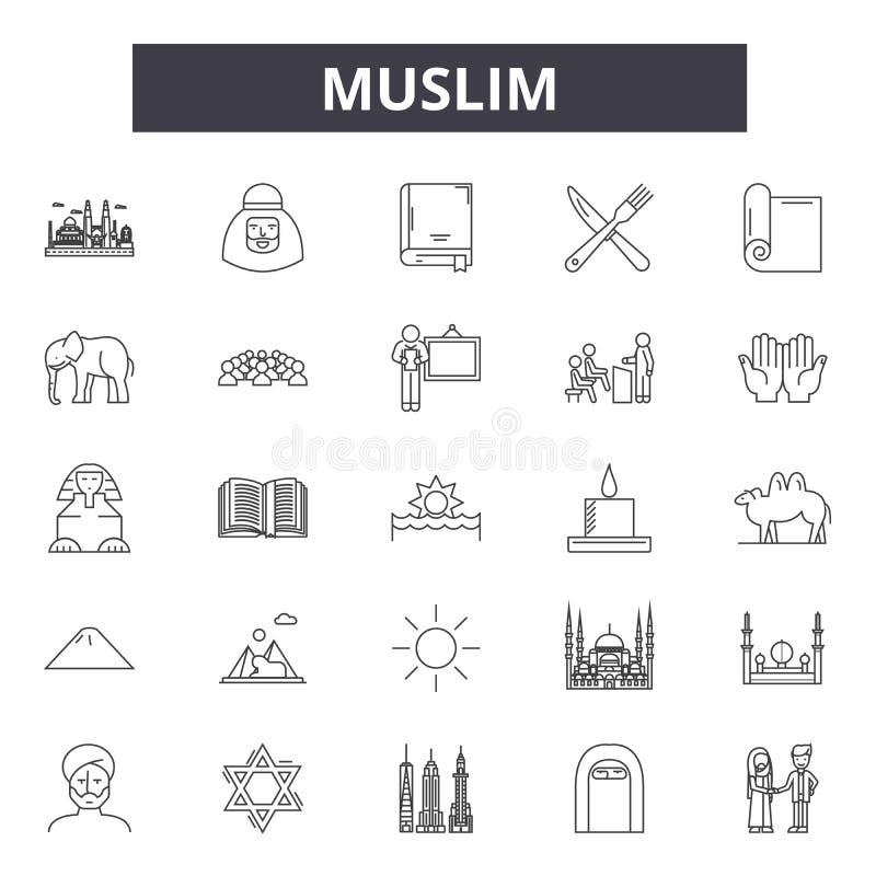 Linha muçulmana ícones, sinais, grupo do vetor, conceito da ilustração do esboço ilustração do vetor