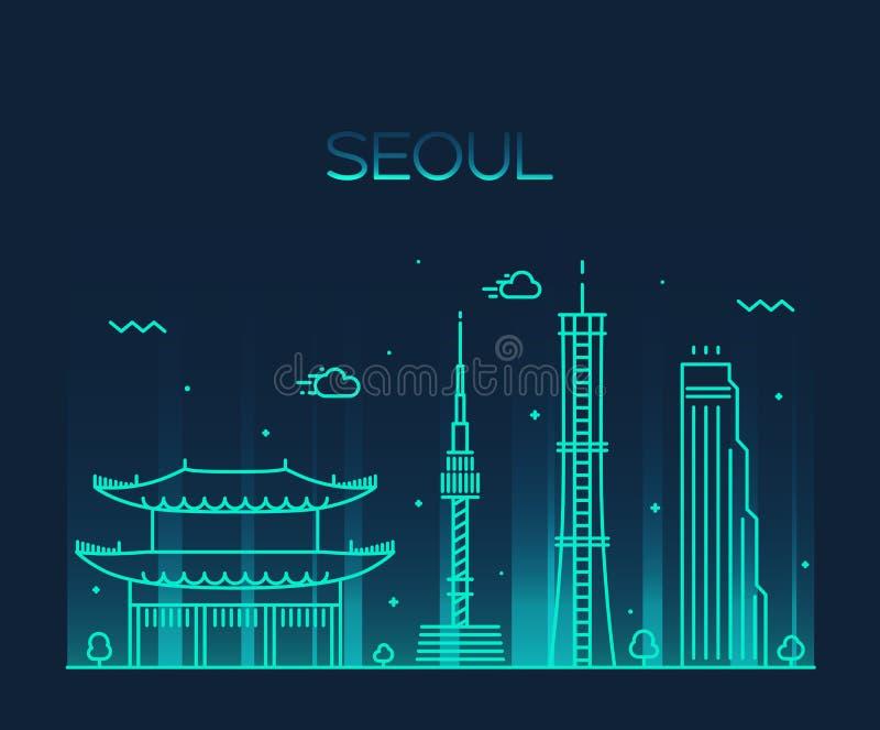 Linha na moda estilo do vetor da skyline da cidade de Seoul da arte ilustração do vetor