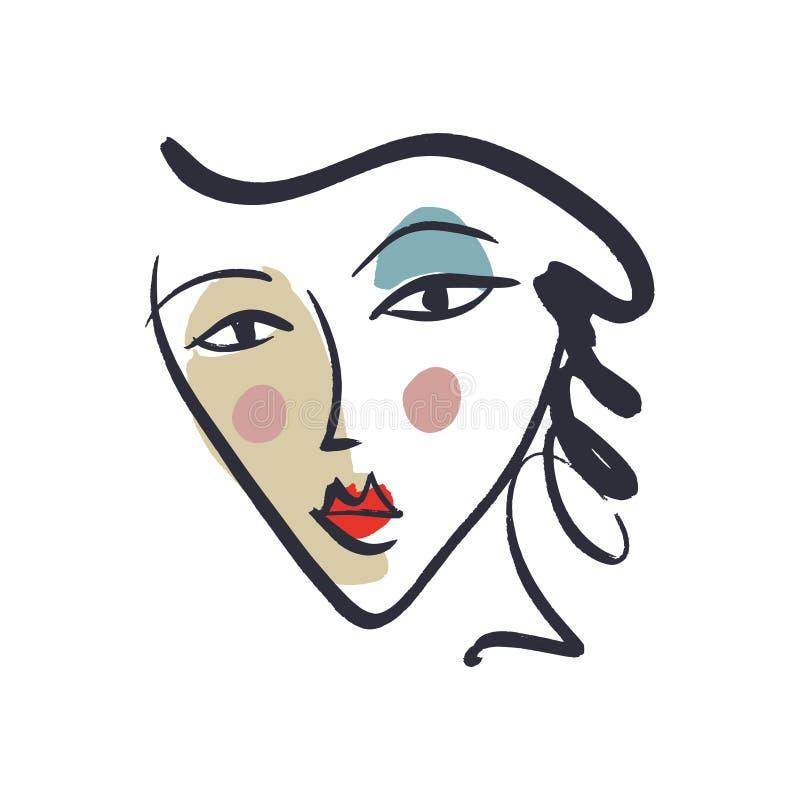 Linha na moda preto e branco tirada arte do vetor mão simples do retrato Cópia colorida para a roupa, a matéria têxtil e a outro  ilustração do vetor