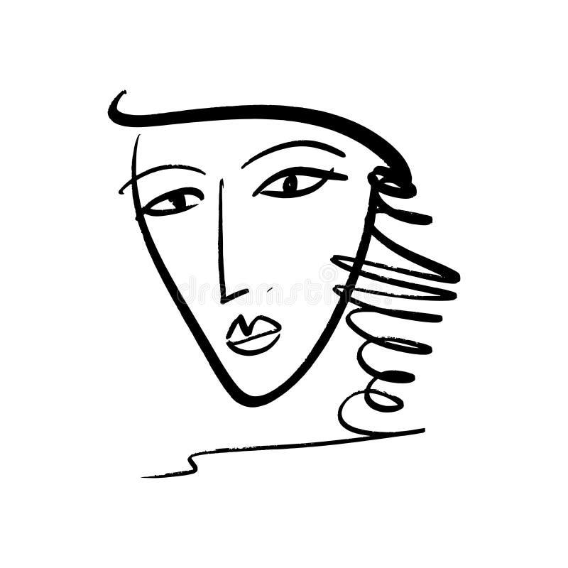 Linha na moda preto e branco tirada arte do vetor mão simples do retrato Cópia monocromática para a roupa, a matéria têxtil e a o ilustração royalty free