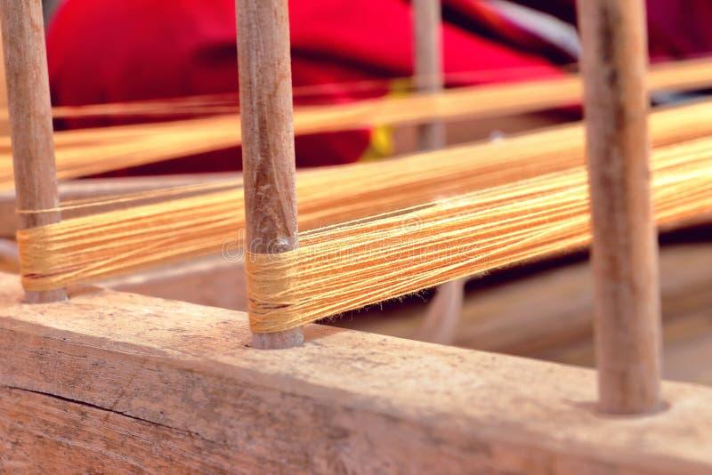 Linha natural para o algodão handwoven foto de stock