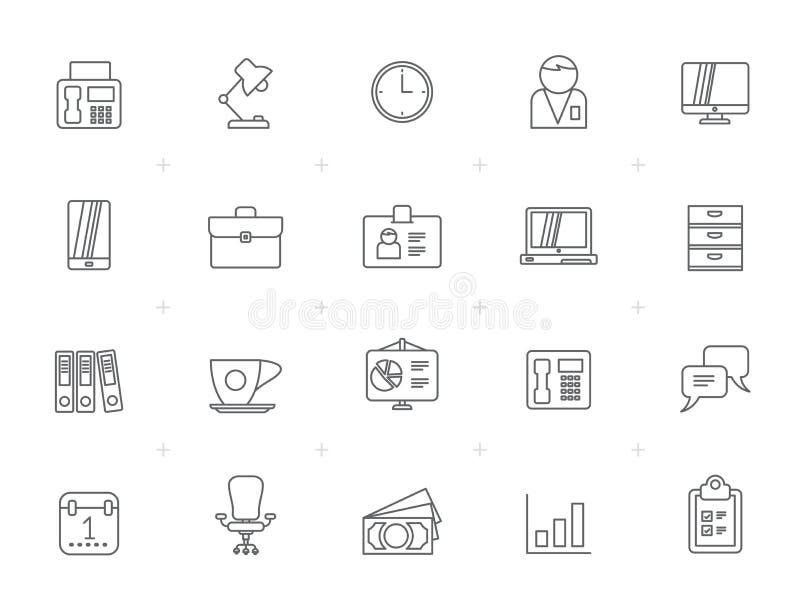 Linha negócio e escritório, ícones do equipamento ilustração stock