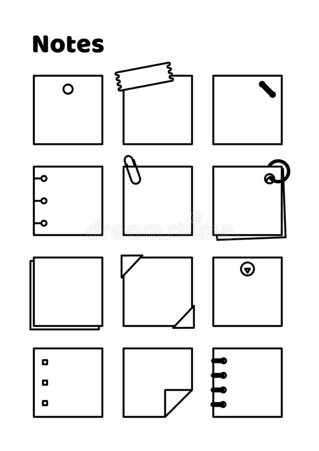 Linha notas imprimíveis do preto do vetor da página do diário ilustração royalty free
