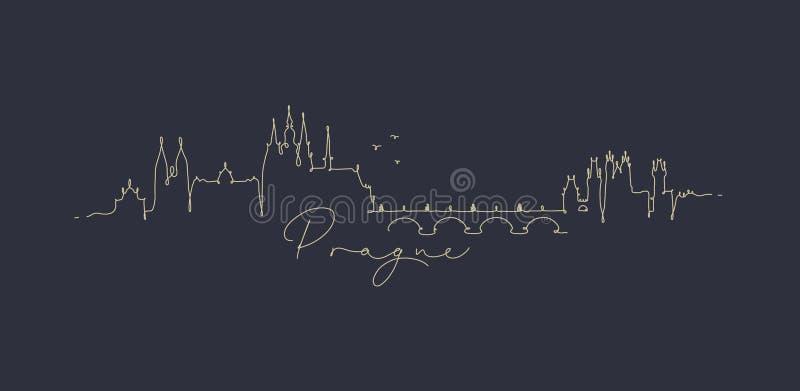 Linha obscuridade da pena de Praga da silhueta - azul ilustração royalty free