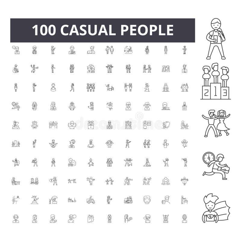 Linha ocasional ícones dos povos, sinais, grupo do vetor, conceito da ilustração do esboço ilustração royalty free