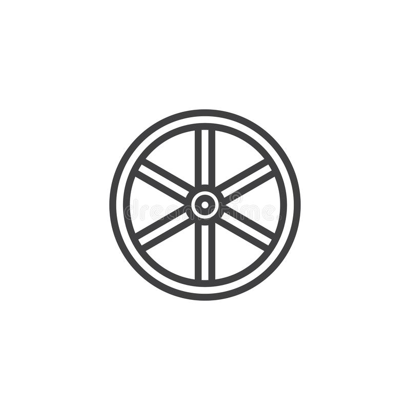 Linha ocidental ícone da roda ilustração do vetor
