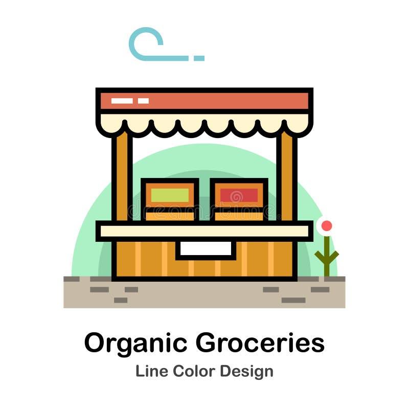 Linha orgânica ícone dos mantimentos da cor ilustração stock
