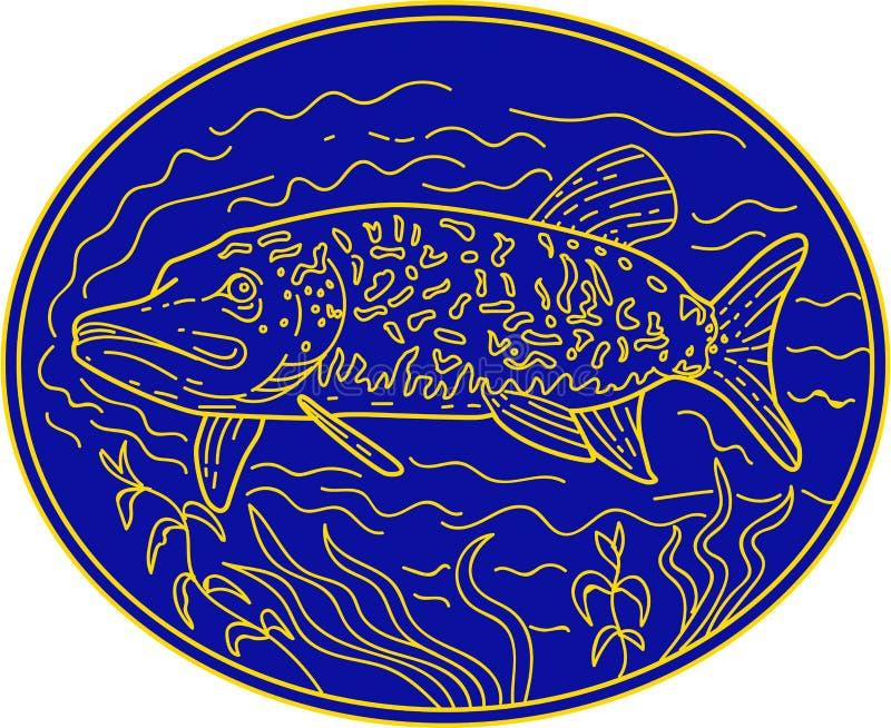 Linha oval dos peixes de Pike do norte mono ilustração stock
