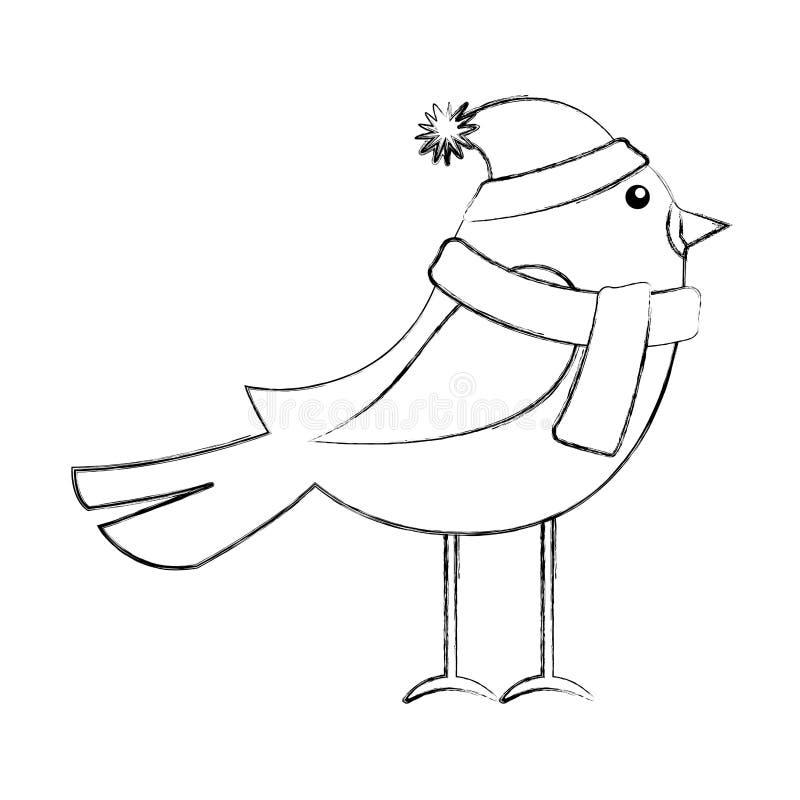 Linha pássaro do Natal do ícone ilustração stock