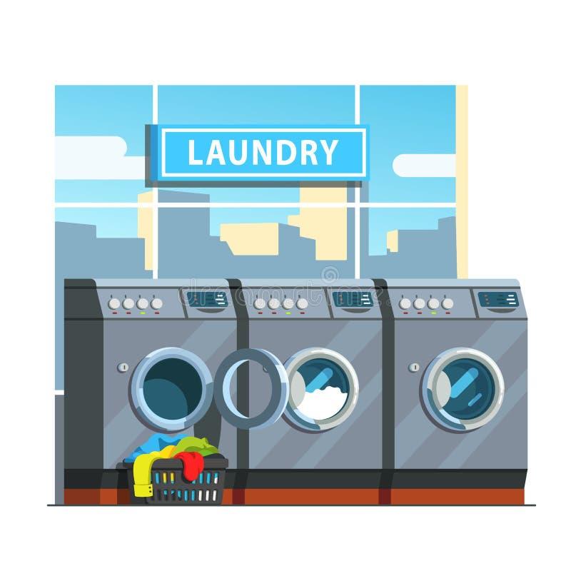 Linha pública da lavagem automática de máquinas de lavar ilustração royalty free