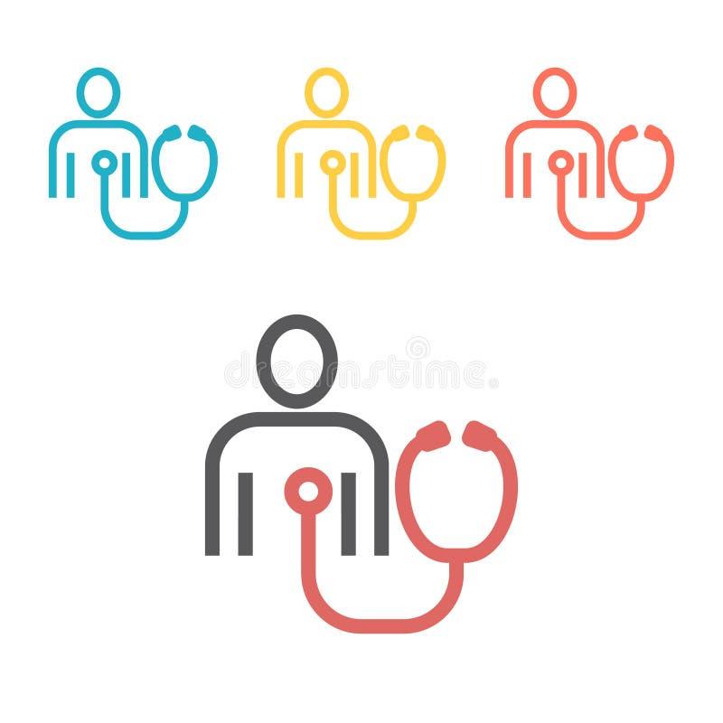 Linha paciente ícone do teste do coração Sinal do vetor para gráficos da Web ilustração royalty free