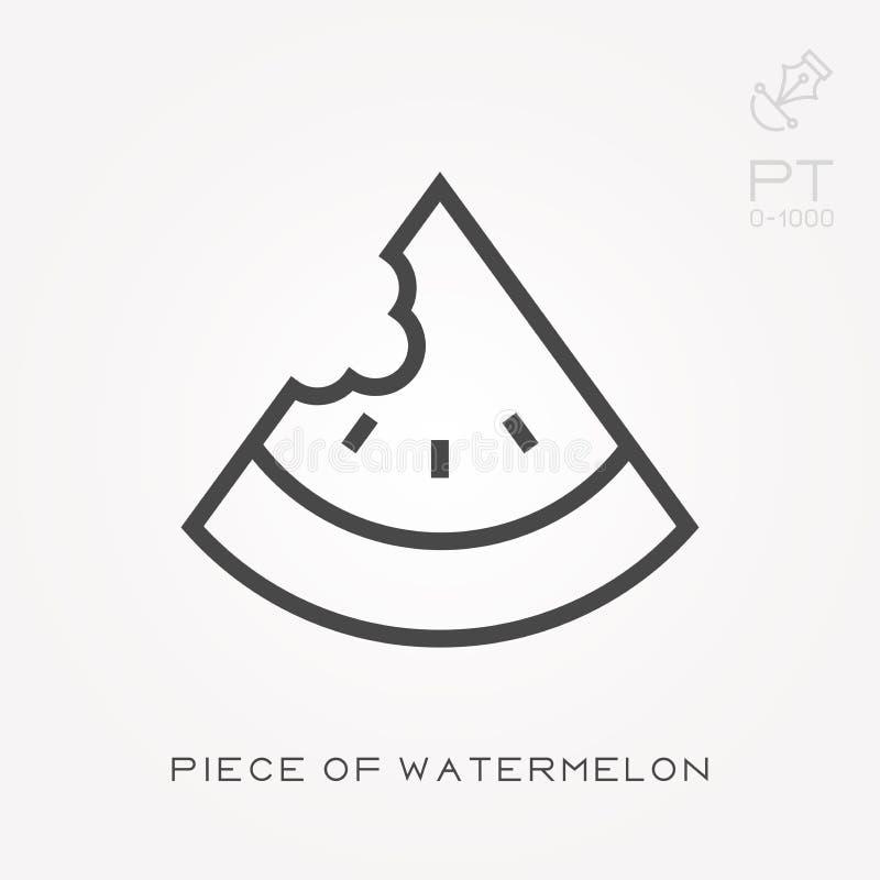 Linha parte do ícone da melancia ilustração stock