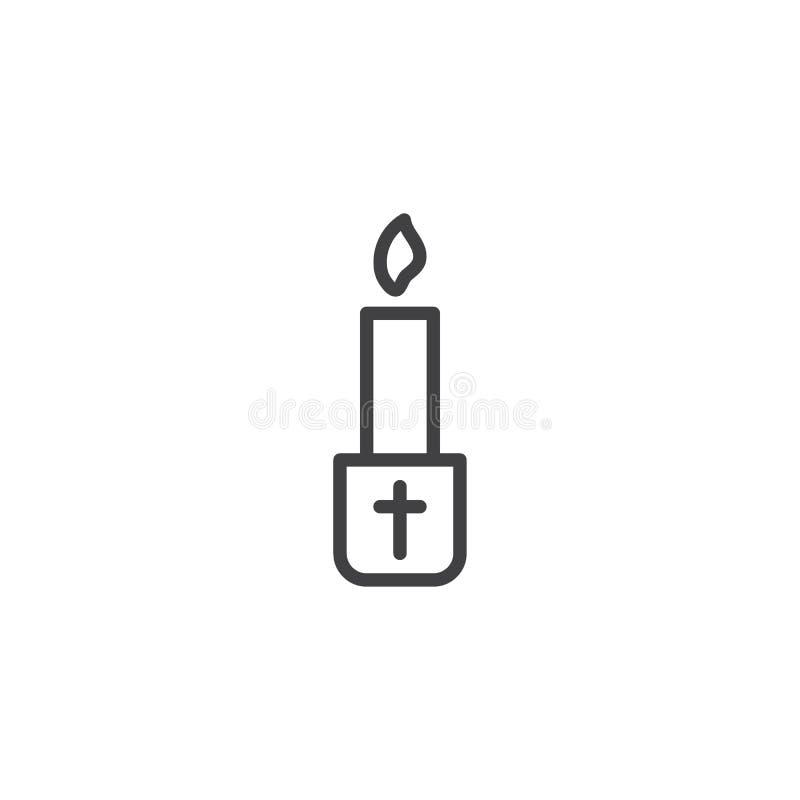 Linha Paschal ícone da vela ilustração stock